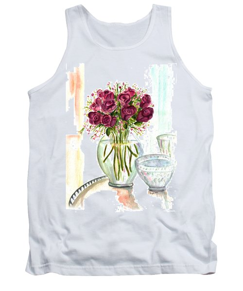 Valentines Crystal Rose Tank Top