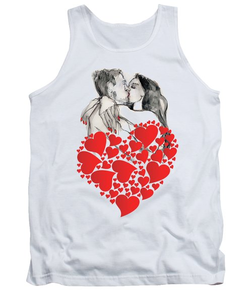 Tank Top featuring the painting Valentine's Kiss - Valentine's Day by Carolyn Weltman