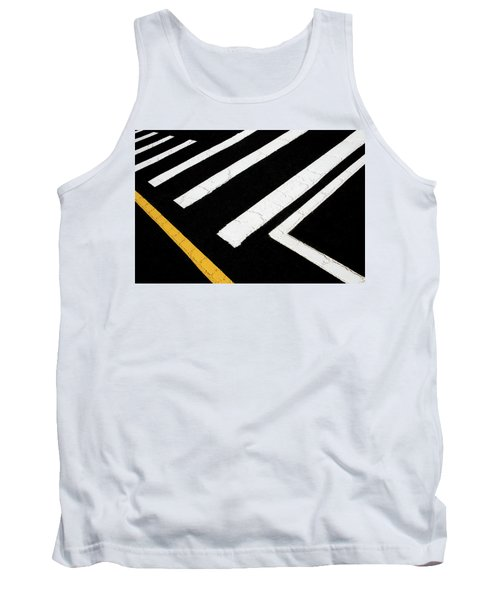 Tank Top featuring the photograph Vanishing Traffic Lines With Colorful Edge by Gary Slawsky