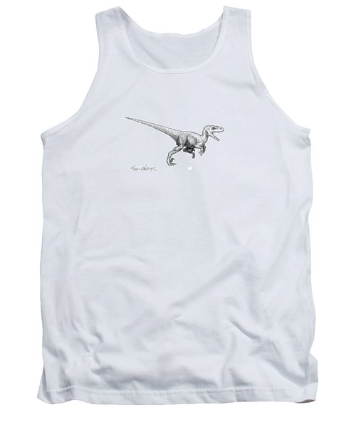 Tank Top featuring the drawing Velociraptor - Dinosaur Black And White Ink Drawing by Karen Whitworth