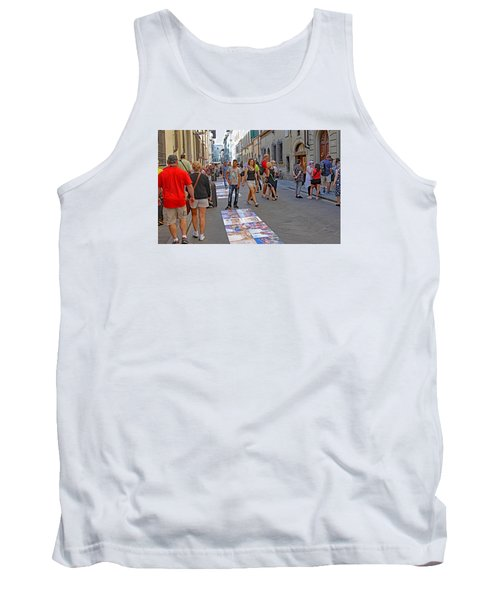 Vendors Selling Reproductions On The Street Tank Top by Allan Levin