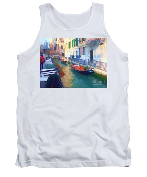 Tank Top featuring the photograph Venice Sidewalk Cafe by Roberta Byram