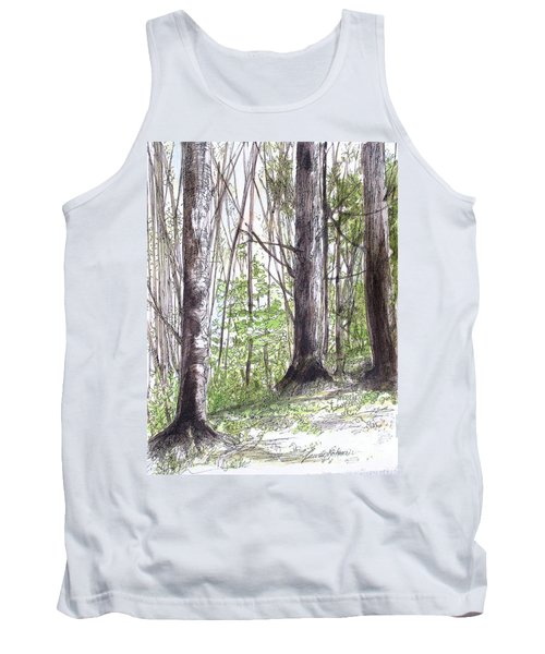 Tank Top featuring the painting Vermont Woods by Laurie Rohner
