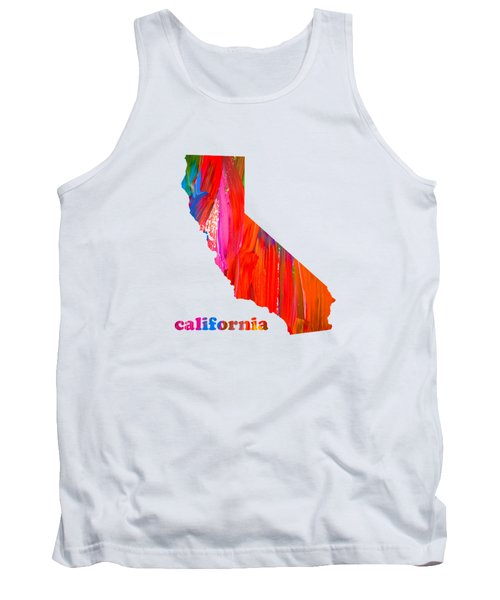 Vibrant Colorful California State Map Painting Tank Top