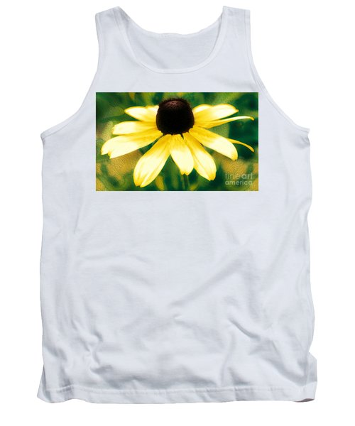 Vibrant Yellow Coneflower Tank Top by Judy Palkimas