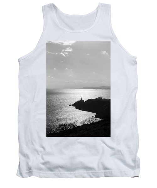 Tank Top featuring the photograph View Of Howth Head With The Baily Lighthouse In Black And White by Semmick Photo