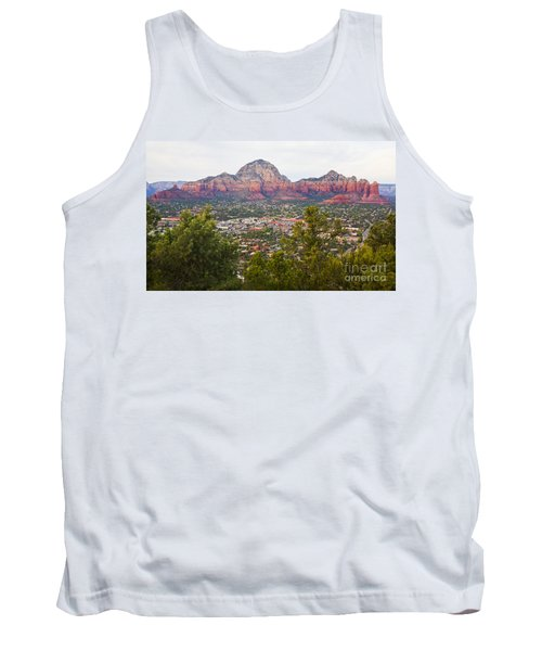 Tank Top featuring the photograph View Of Sedona From The Airport Mesa by Chris Dutton