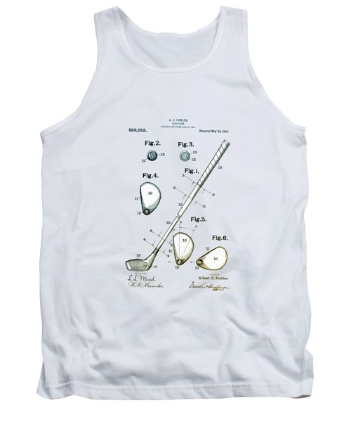 Tank Top featuring the drawing Vintage 1910 Golf Club Patent by Bill Cannon