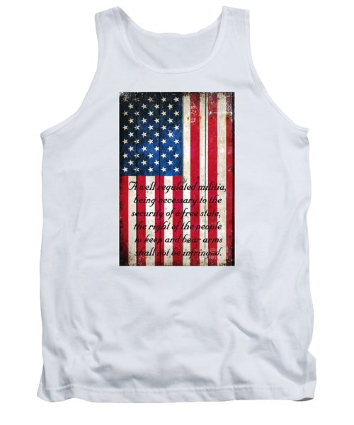 Vintage American Flag And 2nd Amendment On Old Wood Planks Tank Top by M L C