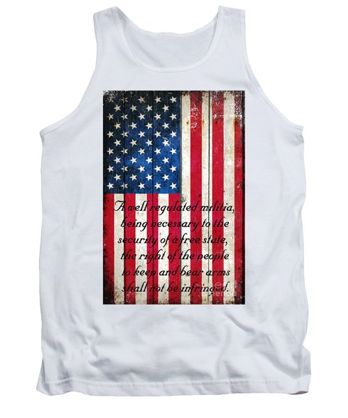 Vintage American Flag And 2nd Amendment On Old Wood Planks Tank Top