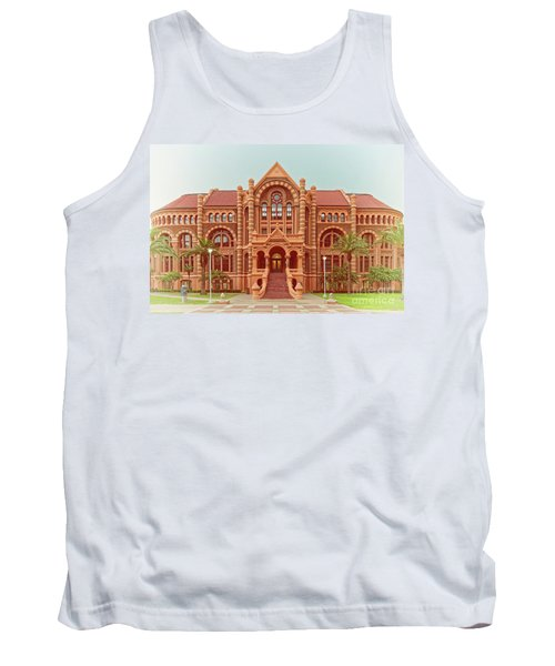 Vintage Architectural Photograph Of Ashbel Smith Old Red Building At Utmb - Downtown Galveston Texas Tank Top