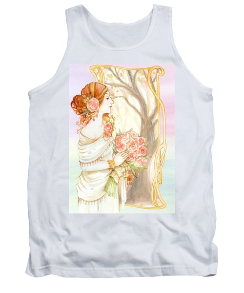 Vintage Art Nouveau Flower Lady Tank Top