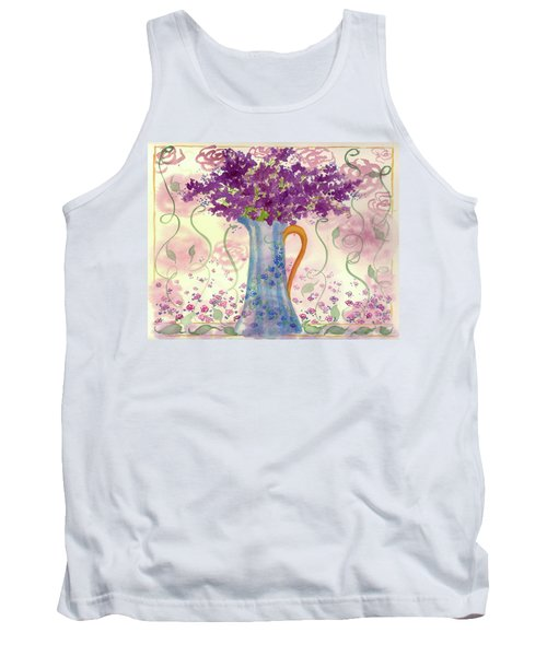 Tank Top featuring the painting Vintage Blue Flower Bouquet by Cathie Richardson