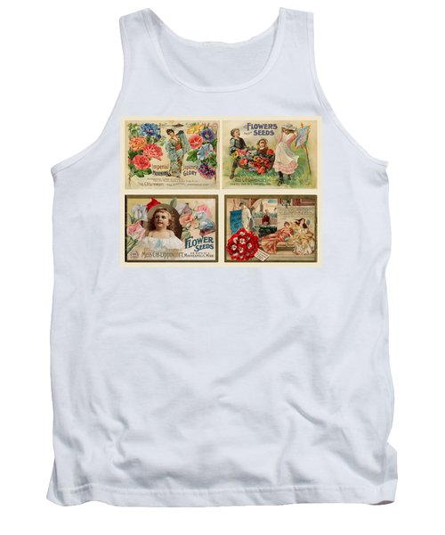 Vintage Flower Seed Packets Tank Top by Peggy Collins