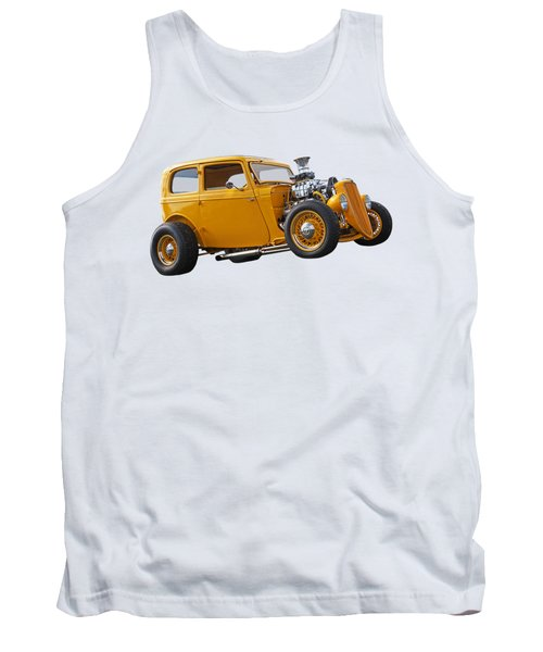 Vintage Ford Hot Rod In Yellow Tank Top