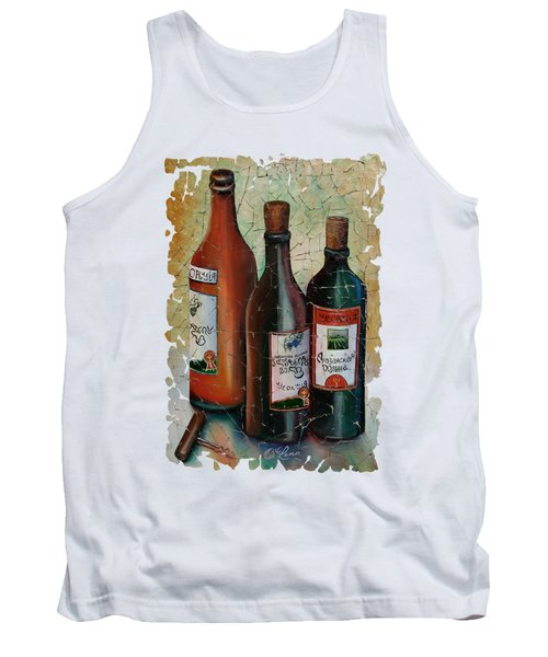 Vintage Georgian Wine Fresco Tank Top by Lena  Owens OLena Art