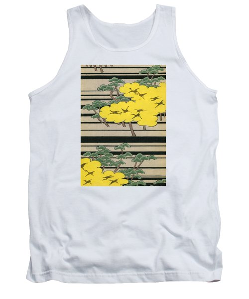 Vintage Japanese Illustration Of An Abstract Forest Landscape With Flying Cranes Tank Top