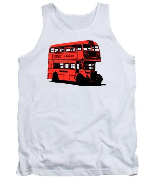 Vintage Red Double Decker London Bus Tee Tank Top by Edward Fielding