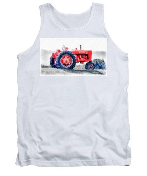 Vintage Tractor Watercolor Tank Top
