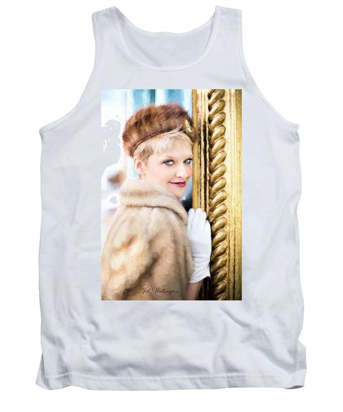 Tank Top featuring the digital art Vintage Val Winter Glam by Jill Wellington
