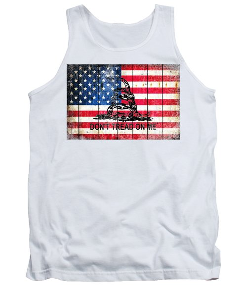 Viper On American Flag On Old Wood Planks Tank Top by M L C