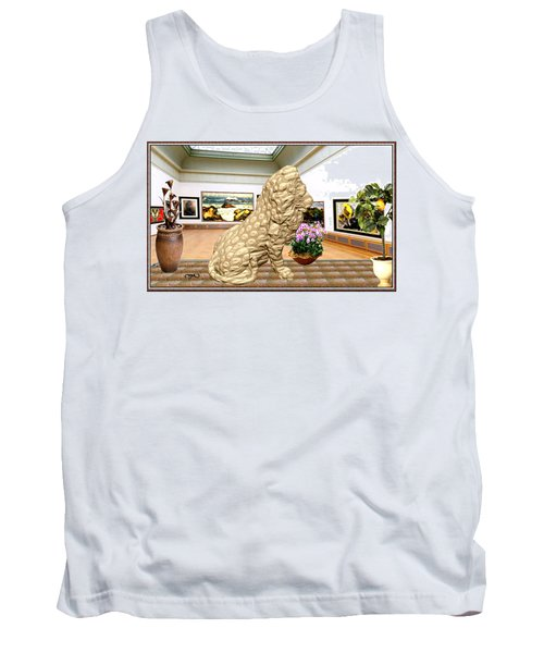 Virtual Exhibition - Statue Of A Lion Tank Top by Pemaro