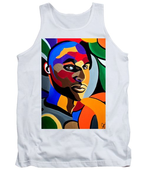 Visionaire, Abstract Male Face Portrait Painting - Illusion Abstract Artwork - Chromatic Tank Top