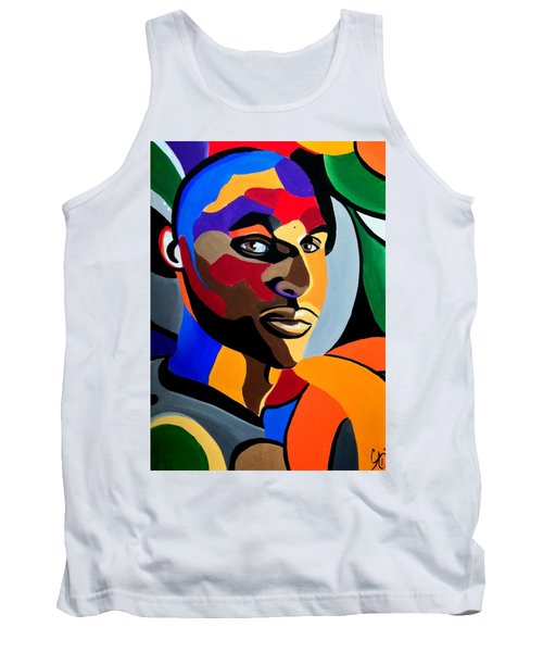 Visionaire Male Abstract Portrait Painting Chromatic Abstract Artwork Tank Top