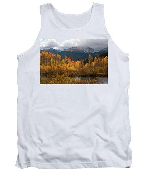 Vivid Autumn Aspen And Mountain Landscape Tank Top