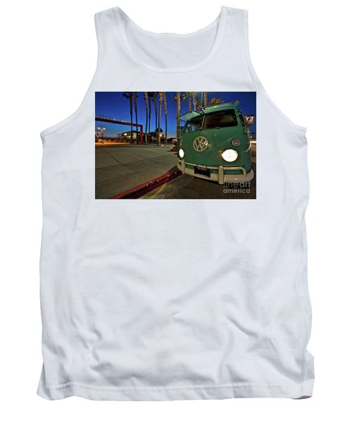 Volkswagen Bus At The Imperial Beach Pier Tank Top by Sam Antonio Photography
