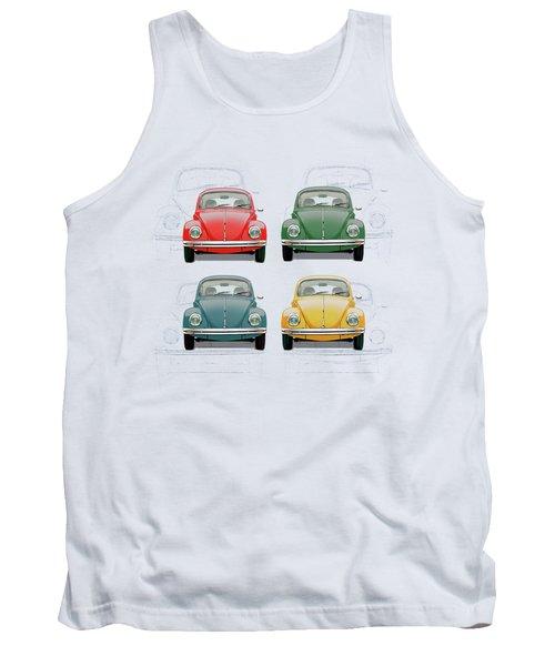 Volkswagen Type 1 - Variety Of Volkswagen Beetle On Vintage Background Tank Top