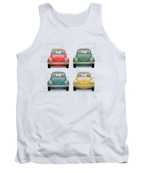 Volkswagen Type 1 - Variety Of Volkswagen Beetle On Vintage Background Tank Top