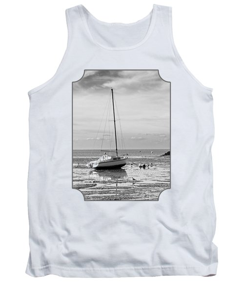 Waiting For High Tide Black And White Tank Top by Gill Billington