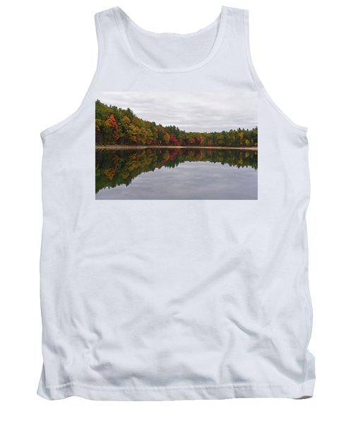 Walden Pond Fall Foliage Concord Ma Reflection Trees Tank Top