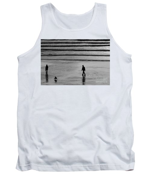 Tank Top featuring the photograph Walking The Dog At Marazion by Brian Roscorla