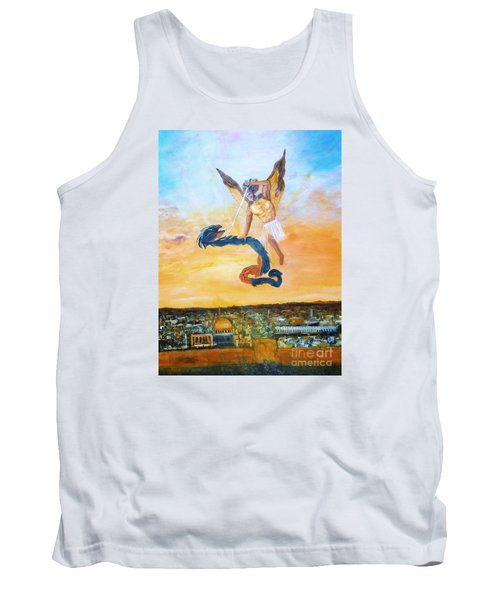 Tank Top featuring the painting Warfare Rev 12 Vs7 by Donna Dixon
