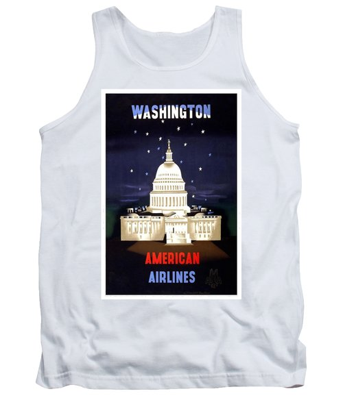 Washington, American Airlines - Retro Travel Poster - Vintage Poster Tank Top
