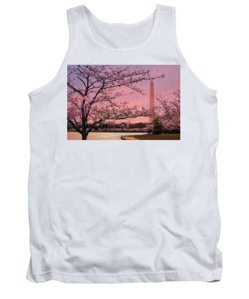Tank Top featuring the photograph Washington Monument Cherry Blossom Festival by Shelley Neff