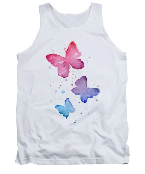 Watercolor Butterflies Tank Top by Olga Shvartsur
