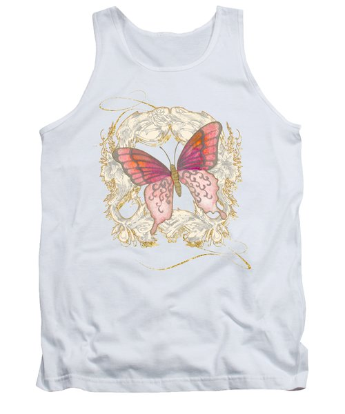 Watercolor Butterfly With Vintage Swirl Scroll Flourishes Tank Top