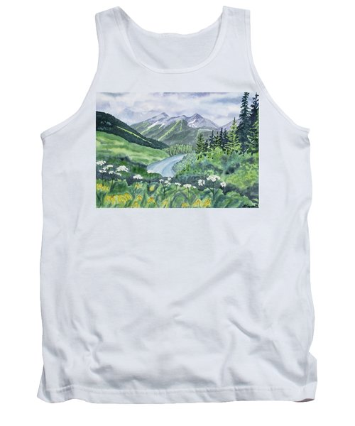 Watercolor - Colorado Summer Landscape Tank Top