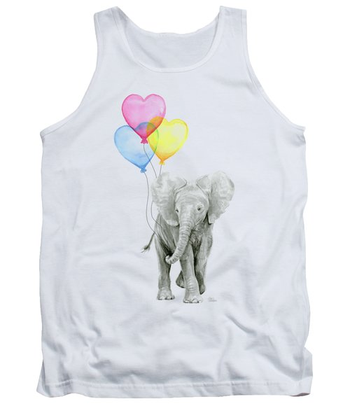Watercolor Elephant With Heart Shaped Balloons Tank Top by Olga Shvartsur