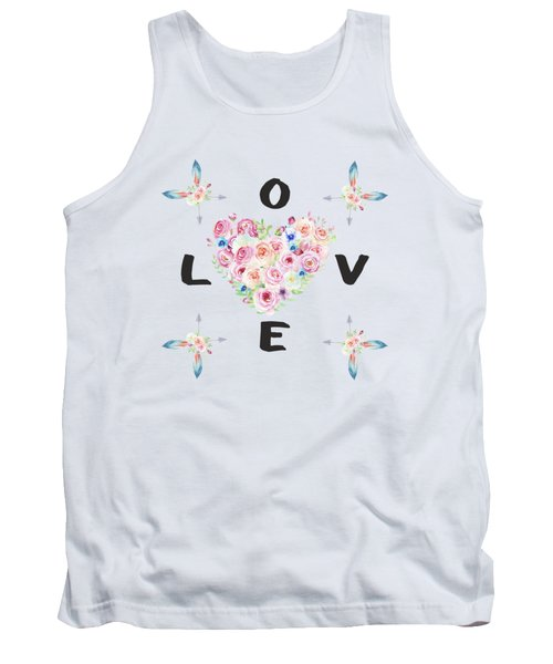 Watercolor Flowers Arrows Love Typography Tank Top