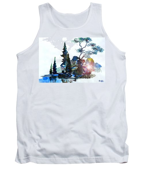 Tank Top featuring the painting Watercolor Forest And Pond by Curtiss Shaffer