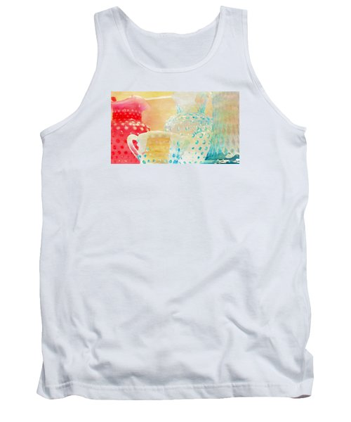 Watercolor Glassware Tank Top by Bonnie Bruno