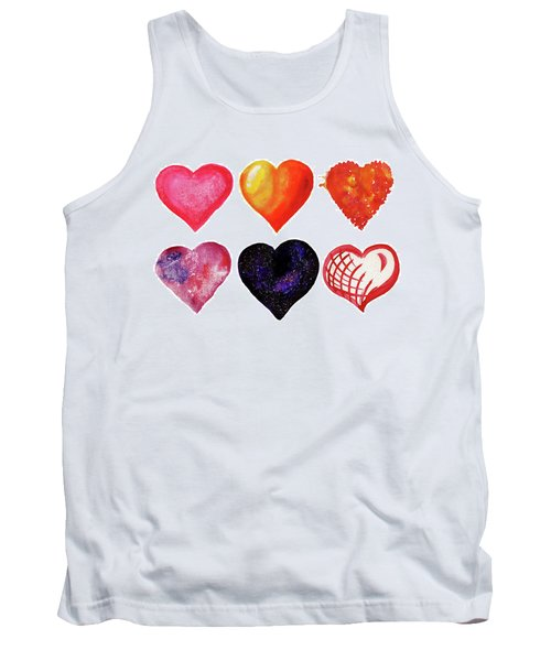 Watercolor Hearts Set Tank Top