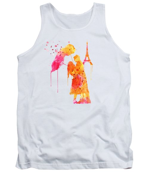 Watercolor Love Couple In Paris Tank Top