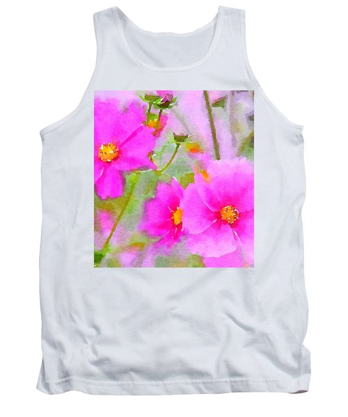 Tank Top featuring the painting Watercolor Pink Cosmos by Bonnie Bruno