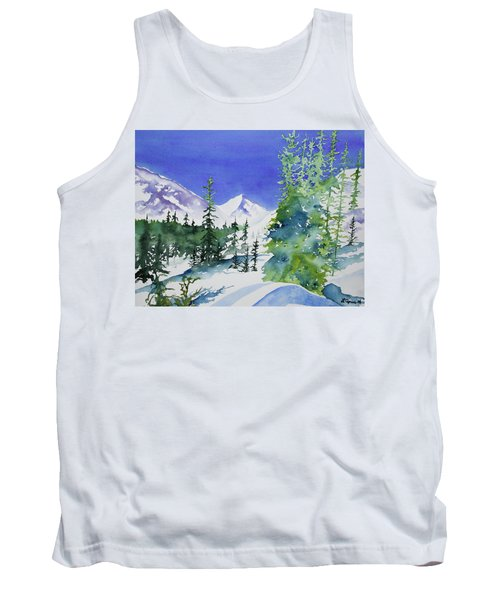 Watercolor - Sunny Winter Day In The Mountains Tank Top