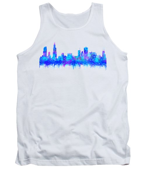 Tank Top featuring the painting Watercolour Splashes And Dripping Effect Chicago Skyline by Georgeta Blanaru